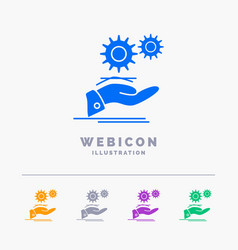 solution hand idea gear services 5 color glyph vector image