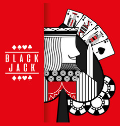 Spade king black jack cards gamble chips red vector