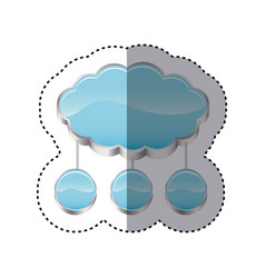 Sticker cloud storage connected with set circular vector