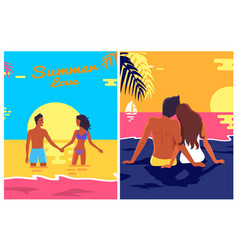 Summer love posters set with couple love on beach vector