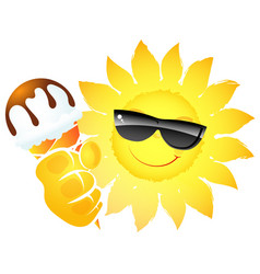 sun with ice cream in hand vector image