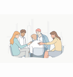Support psychology meeting depression vector
