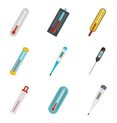 Thermometer temperature icons set isolated vector
