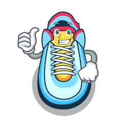 Thumbs up cartoon pair of casual sneakers vector
