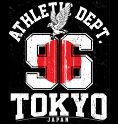 Tokyo athletic sport typography t shirt graphics vector