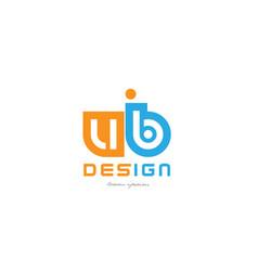 Ub u b orange blue alphabet letter logo vector