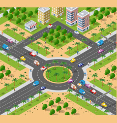 urban area with an intersection vector image