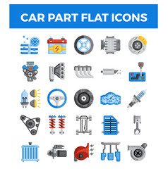Vehicle and car parts flat icons pixel perfect vector