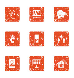 Virtual world icons set grunge style vector