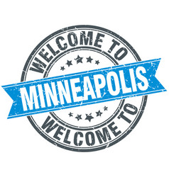 Welcome to minneapolis blue round vintage stamp vector