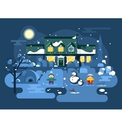 Winter night children play vector