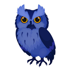 Wise blue owl isolated on white background vector