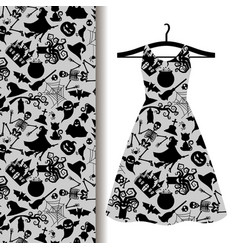 women dress fabric with halloween symbols vector image