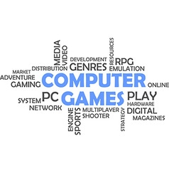 word cloud computer games vector image