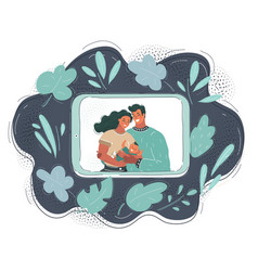 young family on tablet screen video call concept vector image