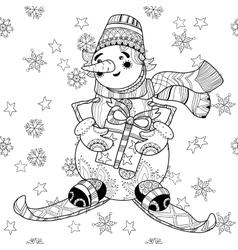 Zentangle doodle hand drawn christmas snowman ski vector