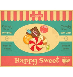 Candy Shop Retro Poster vector image vector image