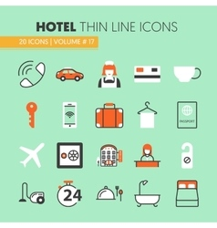 Hotel Accomodation Thin Line Icons Set vector image