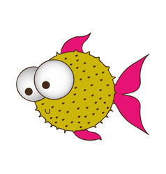 Silhouette color of blowfish with big eyes vector