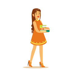 student girl with long hair wearing in a dress vector image vector image