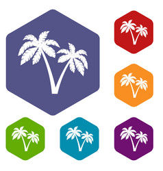two palms icons set vector image vector image