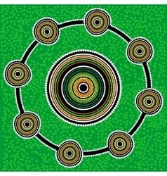 Aboriginal art background Green vector image