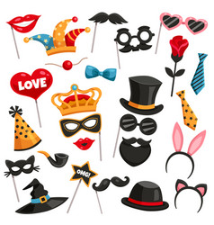 carnival photo booth party icon set vector image