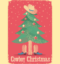 Cowboy christmas card with tree and western vector