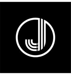 J capital letter of three white stripes enclosed vector image