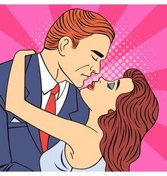 Kissing Couple Man Kissing a Woman Pop Art Banner vector image vector image