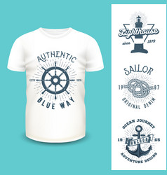 t-shirt mockup with clothing labels vector image vector image