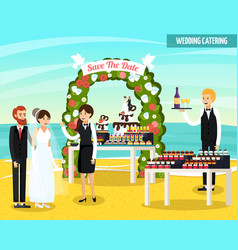 wedding catering orthogonal flat composition vector image