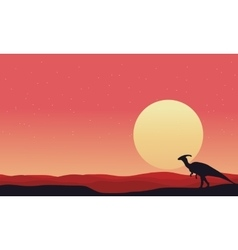 At afternoon Parasaurolophus landscape silhouettes vector image vector image