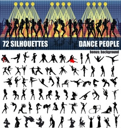 Big set of silhouettes of dancing people vector image