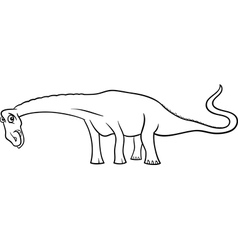 cartoon diplodocus dinosaur for coloring book vector image vector image