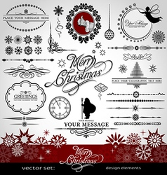Christmas and New Year decorative set vector image vector image