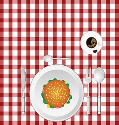 cup of coffe with hamburger on tablecloth vector image