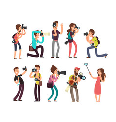 funny professional photographer with camera taking vector image