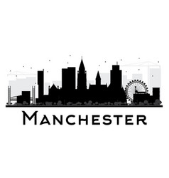manchester city skyline black and white silhouette vector image