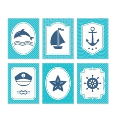 Nautical and sea cards badges and labels vector image vector image