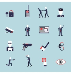 Security guard flat icons vector image