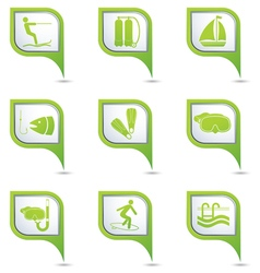 Set of 9 sport GREEN pointer vector image