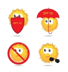Set of UV Sun Protection and anti UV cartoon icons vector image vector image