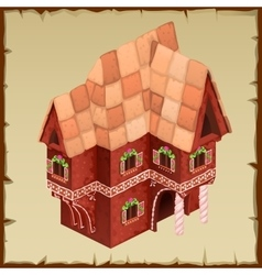 Gingerbread house closeup top view vector image