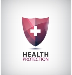 medical logo health protection shield with vector image vector image