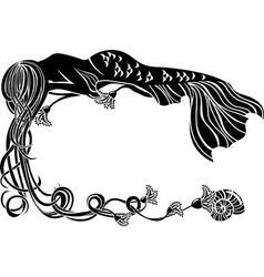 Ornate frame sleeping mermaid vector image vector image