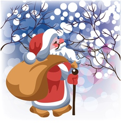 santa claus with gifts in winter forest vector image