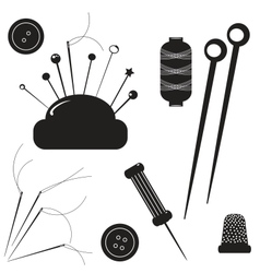 Sewing kit Set for sewing on a white background vector image