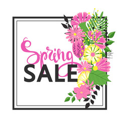 spring sale with beautiful flowers greeting card vector image vector image