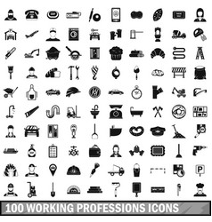 100 working professions icons set simple style vector